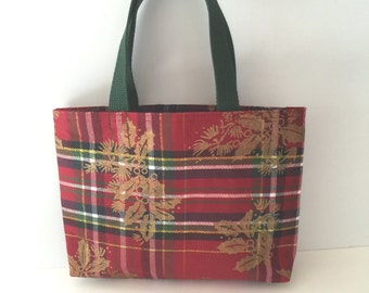 Holiday Plaid Handcrafted Gift Tote Bag/Holiday Plaid Purse