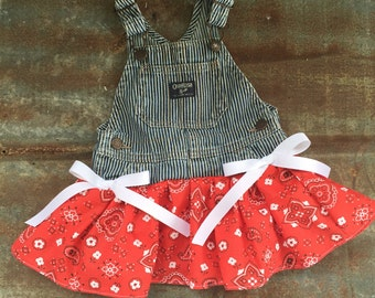 Red cowgirl dress,Red cowgirl birthday,Red birthday dress,train party,girl train party,red bandanna dress,toddler overall dress,overall tutu