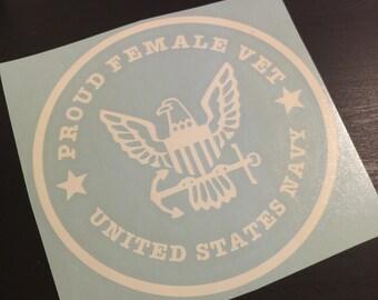 Proud Female Veteran US Navy USN Decal