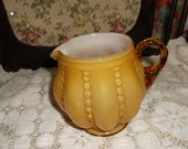 Vintage Amber/ Yellow Hobnail Short Round Pitcher