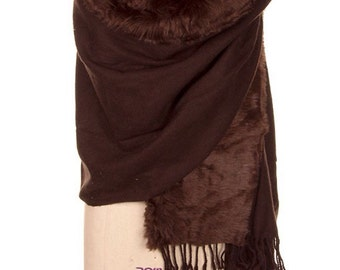 Brown Faux Fur wrap cape, Brown wraps shawls, women Shawls wraps, Plus size Women Clothing, Best Selling Shops item - By PiYOYO 50587