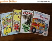 ON SALE Vintage Little Golden Books / Set of four books / Bullwinkle / Lets Go Trucks / The Saggy Baggy Elephant /The Taxi That Hurried