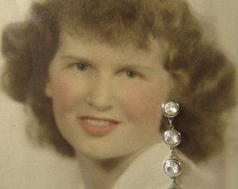 Sparkle and Swing PIERCED Crystal Rhinestone Dangle Earrings, Bridal Crystal Rhinestone Earrings, Bridesmaid Earrings, Wedding Earrings,