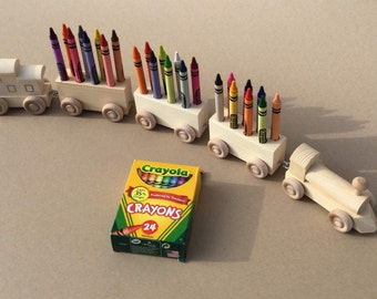 Crayon Train, Twenty-four Count.  Wooden Toy Train. Crayon Holder.