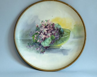Violet Wall Hanging Violet Lithograph Violet Painting Bowl of Violets Painted Metal Wall Hanging Flowered Wall Decor Violet Picture