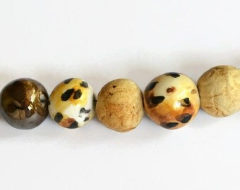 Leopard Print beads, African Beads, Handmade Beads, Ceramic Beads, beads from Africa, brown, caramel, copper lustre beads, 7 African beads