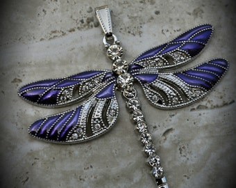 Silver Plated Large Dragonfly Pendant With Crystals And Enamel - Purple