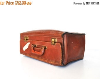ON SALE Antique 1940s Leather Suitcase - Art Deco Era - Photo prop - Wedding decor