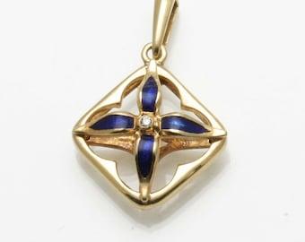 Estate 18k yellow gold Blue Enamel Diamond Pendant Handmade Vintage