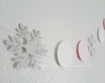 Winter Wonderland Silver Snowflake and Pink Circle Garland.  Birthday Decorations.  Winter Onederland.  Snowflake Garland. 6FT