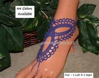 Dark Purple Barefoot Sandals Beach Wedding Anklet Shoes Crochet Violet Sandles Violaceous Lavender Color Purple Barefoot Sandal Foot Jewelry