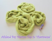 Dyed Merino Top from Ashland Bay - 2 oz of 21.5 Micron Combed Top for Spinning or Felting in Chartreuse - Light Lime Merino Top