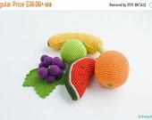 Сrochet Baby Rattles Fruit, Set of 5 - grape, banana, lime, orange, watermelon - crocheted toys, ecofriendly - FrejaTtoys