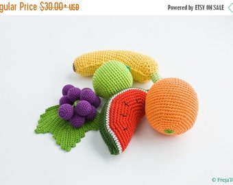 Сrochet Baby Rattles Fruit, Set of 5 - grape, banana, lime, orange, watermelon - crocheted toys, ecofriendly - FrejaTtoys