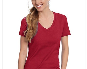 Womens Vneck T-shirt available in Gray or Red.  Hanes 50/50 cotton and polyester, individually wrapped. Ready for wear or printing.