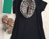 Infinity Scarf: Mocha & Teal Triangles Jersey