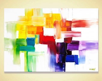 """Original Contemporary modern Abstract Painting On Canvas Colorful Palette Knife by Osnat 24""""x36"""""""