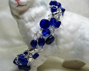 Cobalt Blue and Silver Wire Crochet Bracelet, beaded crocheted bracelet, handmade bead jewelry