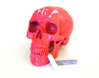 chalkboard skull, head sculpture, neon skulls, teen decor, hot pink, neon art, medical oddities