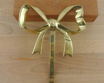 Large Brass Bow Hook |  Wall Hook | Coat Hook | Vintage Hook | Kitsch Coat Peg