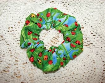 Beautiful Bright Ladybug Leaves Fabric Handmade Hair Scrunchies, womens scrunchie, lady bug insects, spring time summer, flowers floral