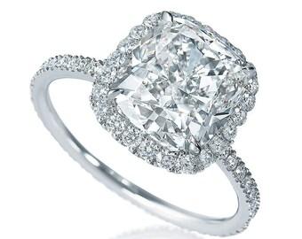 Cushion Cut Diamond Engagement Ring GIA 3.00 Ct D-E VVS1 Halo Eternity Platinum