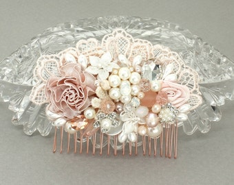 Blush Hair Accessories- Blush Pink Hairpiece- Wedding Hair Accessories-Blush Bridal Comb- Blush Hair comb- Pink Bridal comb- Blush Hairpiece