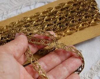 Antique French, metal lace, metallic trim, vestment trim, gold metal lace, metal lace trim, religious garment, ecclesiastical trim, 1 yard