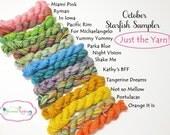 October Sampler - Yarn Only - 14 sock yarn mini skeins, 12 yds each