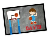Basketball Personalized Placemat - Basketball Boy Jersey Net Ball with Name, Customized Laminated Placemat