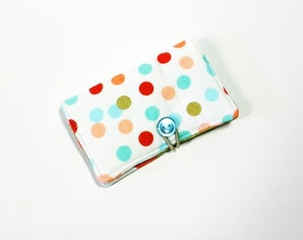 Coral Mint Cofetti Dot Fabric Business Card Holder, with Coral Gold Geo Triangle - Credit Card Holder, Cloth Card Holder, Gift Card Holder