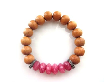 Sandalwood, Pink Quartz and Pave Diamond Stretch Bracelet, Boho Bracelet, Stacking Bracelet