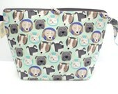 Cute dog faces Jumbo Clutch zipper bag, Knitting for larger projects, Sweater Bag, Blanket project bag, Jumbo Wedge bag with zipper