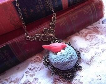 Blue Bird Nest Bronze  - Victorian Charm Necklace Valentines day gift