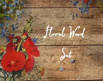 Etsy Shop Banner Set - Banners and Avatars - Boutique Wood Set - Wood Leaves and Poppies - Sizable for Facebook Banner or Web Blog Banner