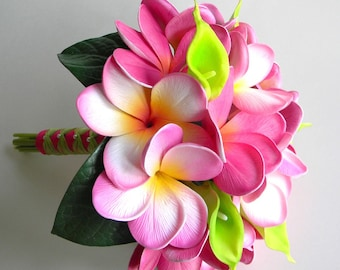 Real Touch Tropical Plumeria Bridesmaids Bouquet in Pink and Lime Green