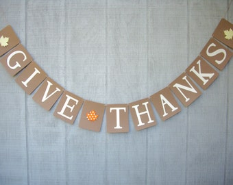 give thanks banner, fall banner, autumn banner, thanksgiving day banner, thanksgiving day decor, holiday banner, holiday decor, photo prop