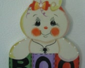 Ghost, magnet, halloween, boo, fall, spider, candy corn, handpainted, wood