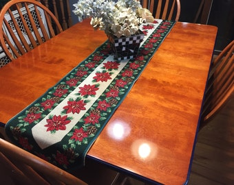 Vintage Woven Christmas or Holiday Christmas dresser scarf or table runner for holiday, housewares, home decor by MarlenesAttic