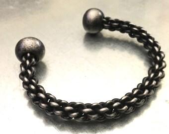 Braided Bracelet, Hand Forged Steel Bracelet, Medieval Bracelet, Norse Jewelry