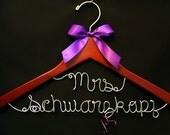 Personalized Wedding Mrs on top line, Custom Bridal Hanger, Brides Hanger, Bride, Name Hanger, Wedding Hanger, Personalized Bridal Gift