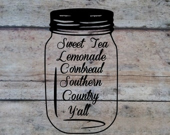 Mason Jar Vinyl Decal | Mason Jar Decal | Country Decal | Decal | Car Decal | Laptop Decal | Mirror Decal | Notebook Decal | Vinyl Decal
