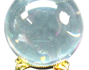 "Fused  quartz  2"" diameter optically clear sphere and Gold tone  stand"