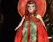 Vintage Antique Senorita Doll in Traditional Clothing Very Good Condition