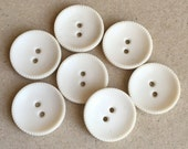 vintage eco friendly white cupped buttons--matching lot of 7