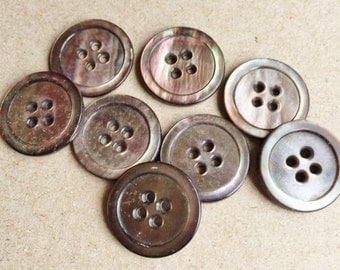 mop abalone multi colored vintage eco friendly buttons--matching lot of 8