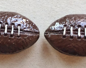 eco friendly large hard solid plastic football beads--matching lot of 2