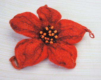 SALE 50% Felt Flower Brooch, Wet Felting, Felted Brooch, Wool Flower Pin, Felt Jewellery, Gift for her, Flower Pin, Unique Felt Brooch