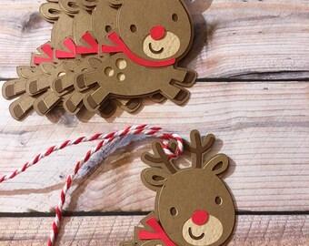 Reindeer christmas tags