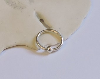 """Sterling Silver Captive Bead Ring Tiny Hoop - 16G 5/16"""" 3/8"""" - Solid Sterling Silver Hoop Earring - Tragus Helix Rook Cartilage Nose Eyebrow"""